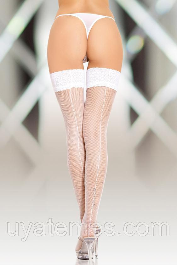 Чулки-сетка со шовом SoftLine Collection, белый, L