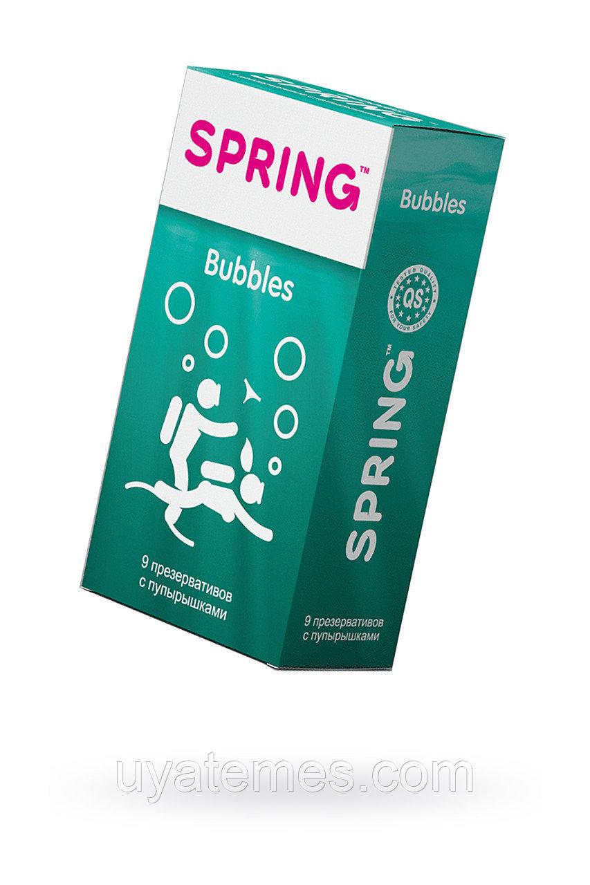 Презервативы Spring Bubbles, с точечной поверхностью, латекс, 17,5 см, 9 шт