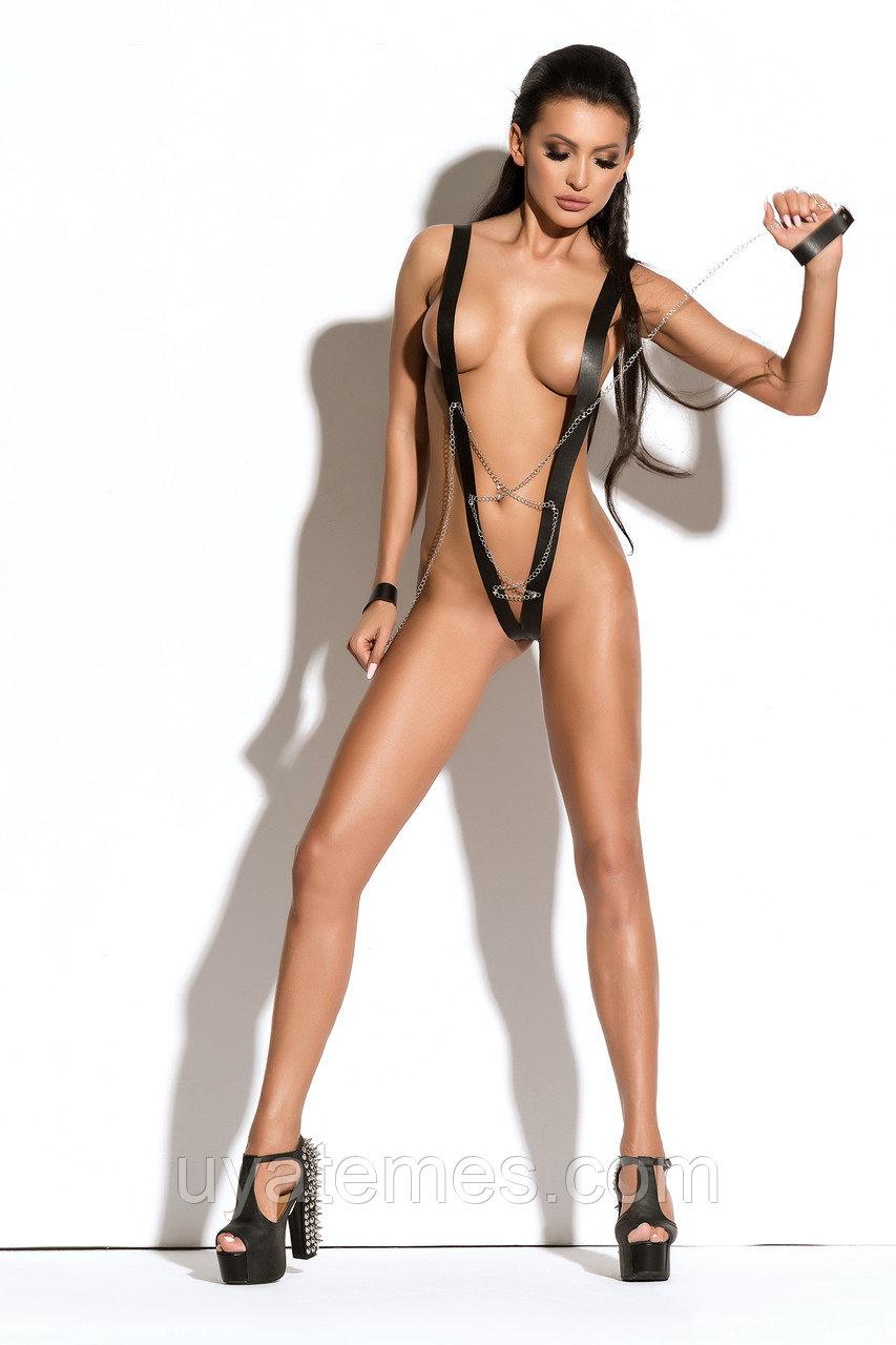 Боди с наручниками Me Seduce Queen of hearts Yanne, черное, L/XL