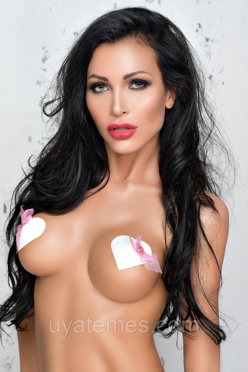 Наклейки на соски (пэстис) Me Seduce в форме сердечек с розовым бантом, белые