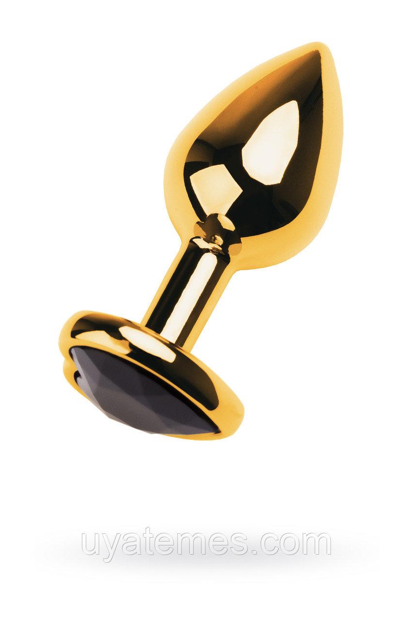 Анальная втулка Metal by TOYFA, металл, золотистая, с кристаллом цвета турмалин, 9,5 см, Ø 4 см, 150 г