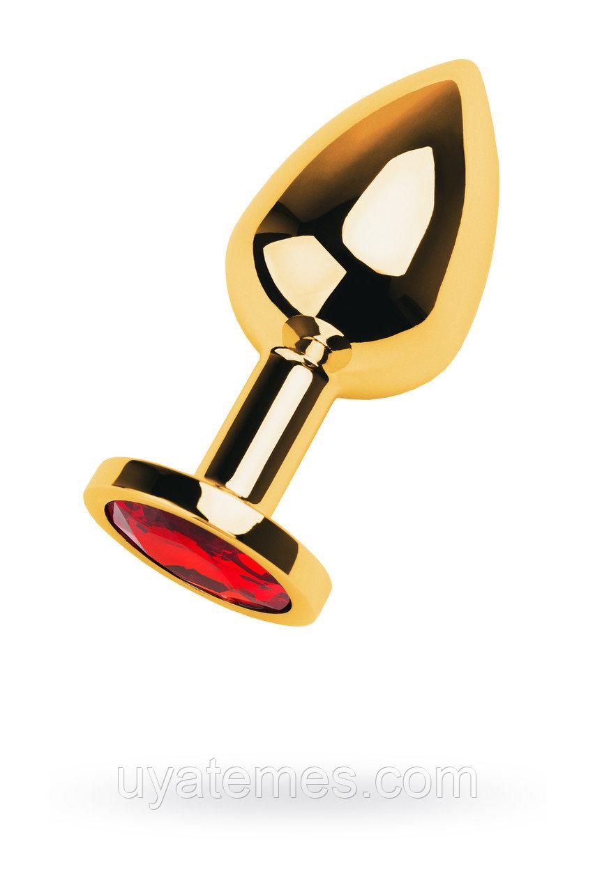 Анальный страз Metal by TOYFA, металл, золотистый, с кристаллом цвета рубин, 8 см, Ø 3,4 см, 85 г