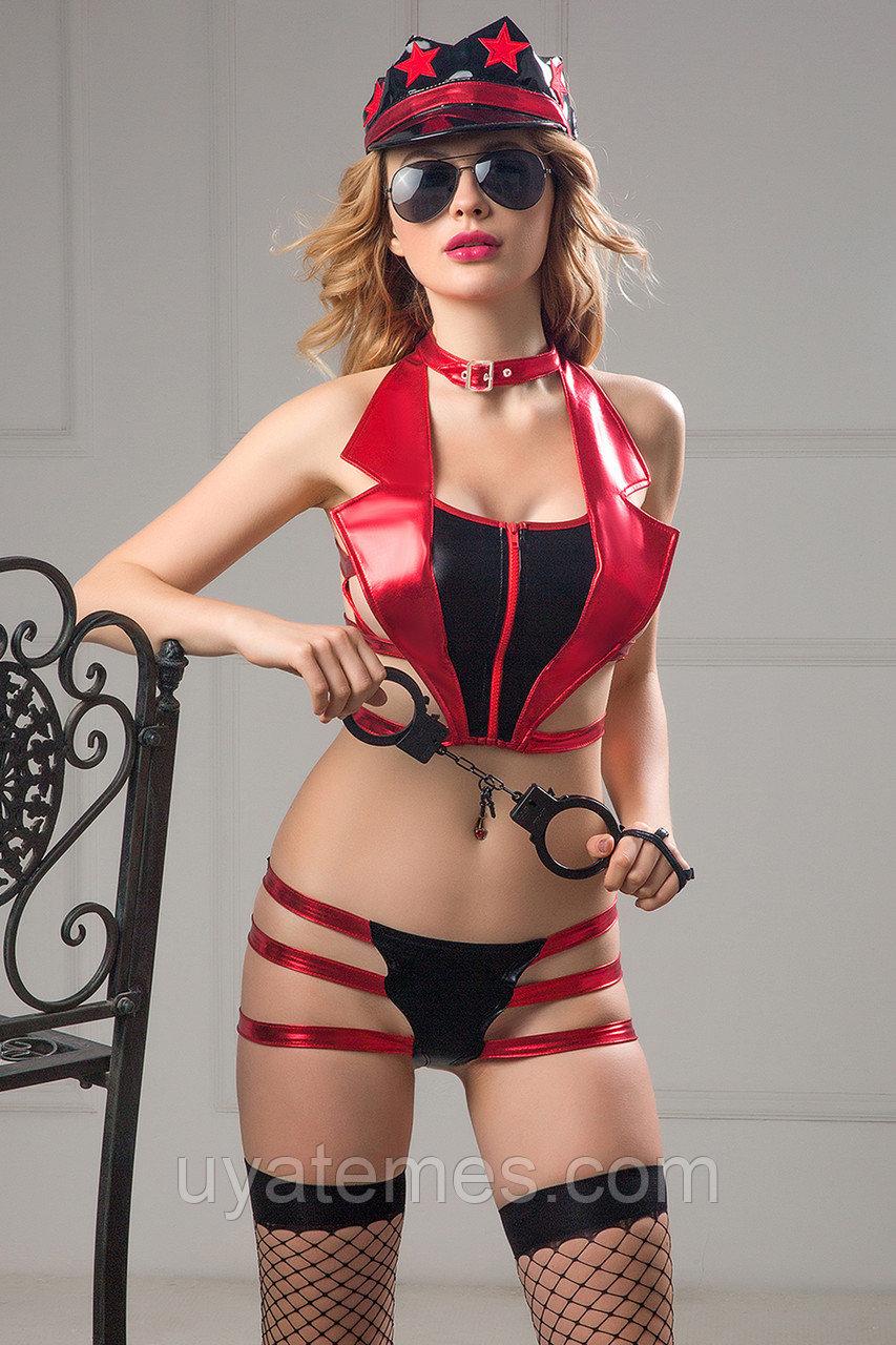 Костюм полицейской Candy Girl Roxy (топ, трусики, головной убор, очки, чулки, наручники) красно-черный, OS