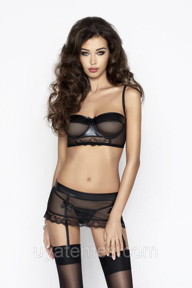 Комплект Passion Erotic Line Canne (лиф, пояс с пажами для чулок и стринги), чёрный, S/M