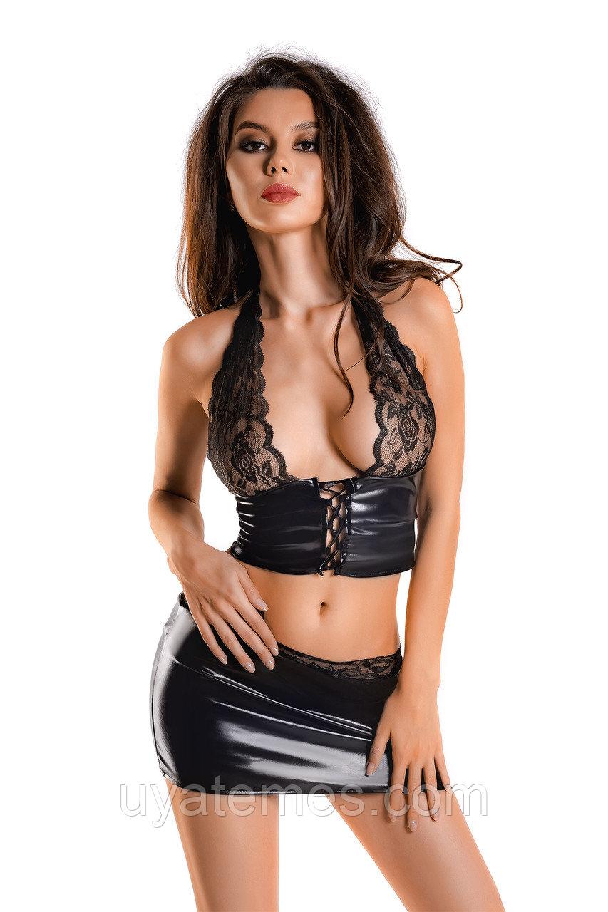 Комплект Glossy Gigi из материала Wetlook, черный, L