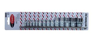"""ROCKFORCE Набор головок E-профиль 14 предметов 1/4""""&3/8""""&1/2""""(1/4"""":E4-Е8, 3/8"""":Е10-Е12, Е14; 1/2"""":Е16,Е18,Е20,Е22,E24),на планке ROCKFORCE RF-4158"""