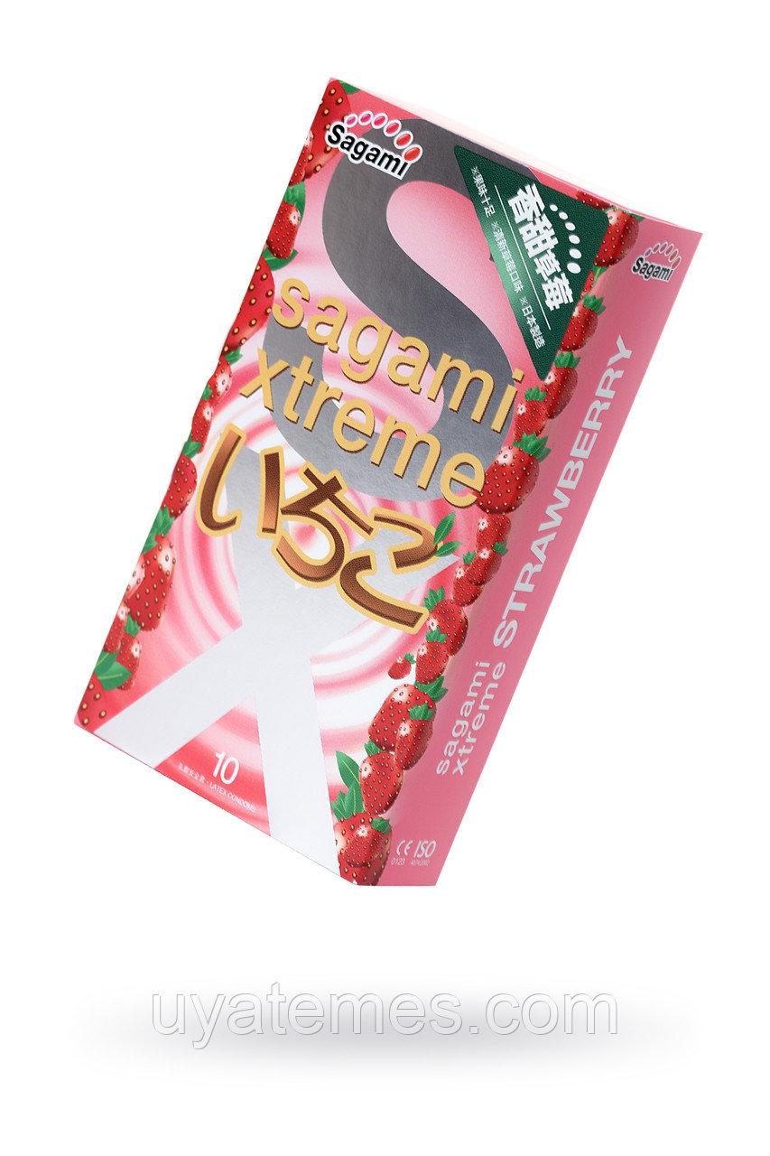 Презервативы латексные Sagami Xtreme Strawberry №10, 19 см