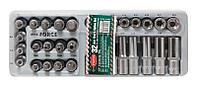 ROCKFORCE Набор головок Е-профиль и бит-насадок TORX (Е10-Е24, M5-M6,T50-Т70, T50H-T40H) 32 предметав лотке ROCKFORCE RF-T4322
