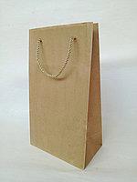 Бумажный пакет с ручками под алкогольные напитки с квадратным дном, 40х23х13 с усиленным дном