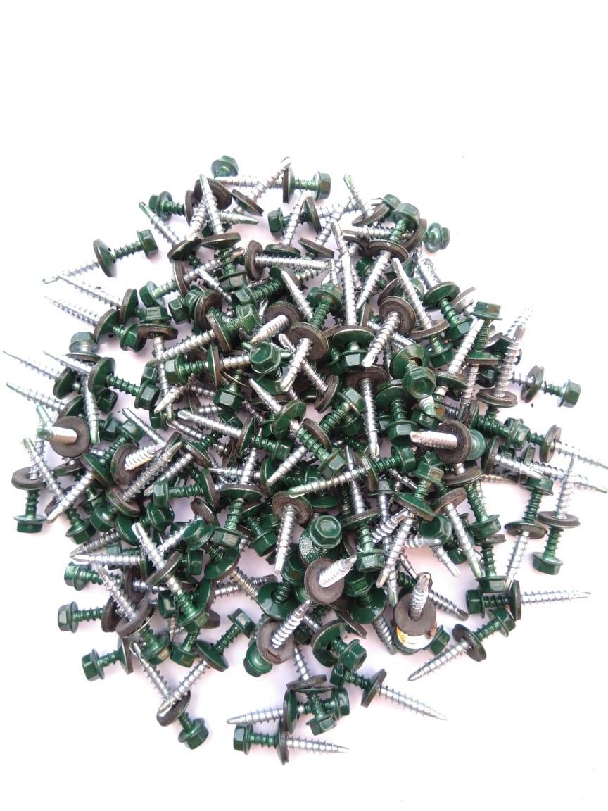 Саморез кровельный 4,8x40 мм (металл-дерево) крашенный  RAL 6005 (зеленый)