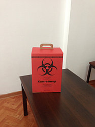 Контейнер картонный, трехслойный,гофрированный для сбора медицинских отходов на 5 л класс В, цвет красный