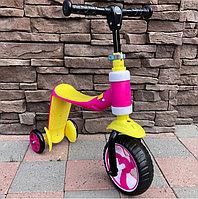 Детский самокат-беговел трансформер 2 в 1 розовый/желтый