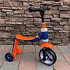 Детский самокат-беговел трансформер 2 в 1 оранжевый/синий