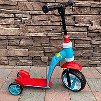 Детский самокат-беговел трансформер 2 в 1 красный/голубой