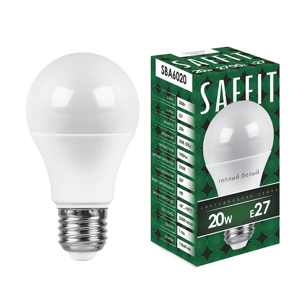 Лампа светодиодная, (20W) 230V Е27 4000К, SBA6020