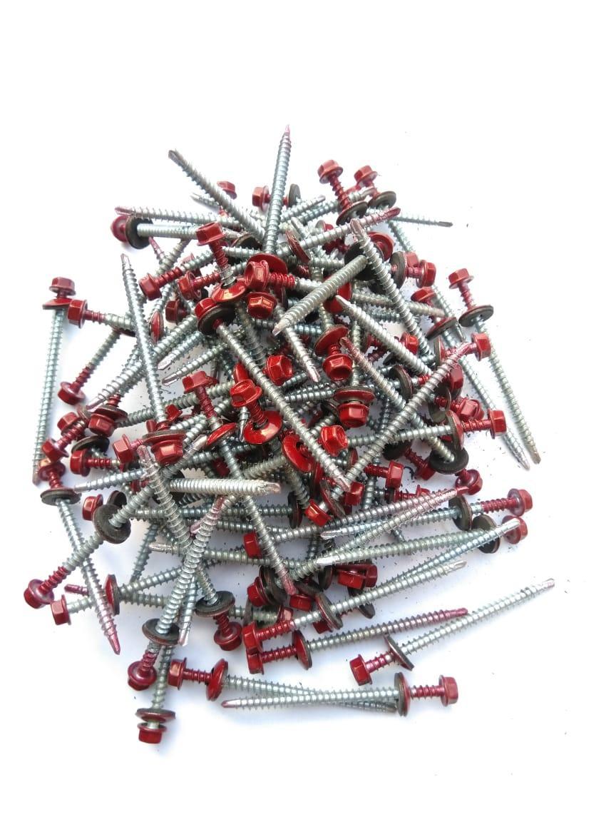 Саморез кровельный 4,8x70 мм (металл-дерево) крашенный RAL 3005 (красный)