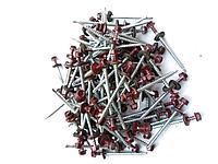 Саморез кровельный 4,8x80 мм (металл-дерево) крашенный  RAL 3005 (красный), фото 1