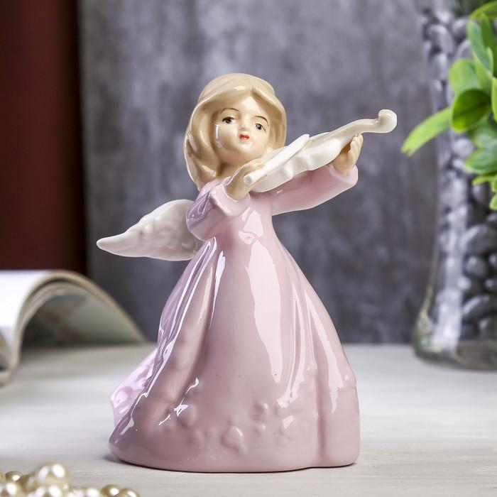 """Сувенир """"Ангелочек в розовом платье со скрипкой"""" 12,5х10х8 см"""