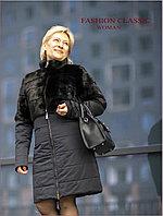 """Зимнее женское пальто """"трансформер"""" с норкой (темно-синий цвет)"""