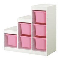 Стеллаж д/хранения игрушек ТРУФАСТ белый/розовый ИКЕА, IKEA