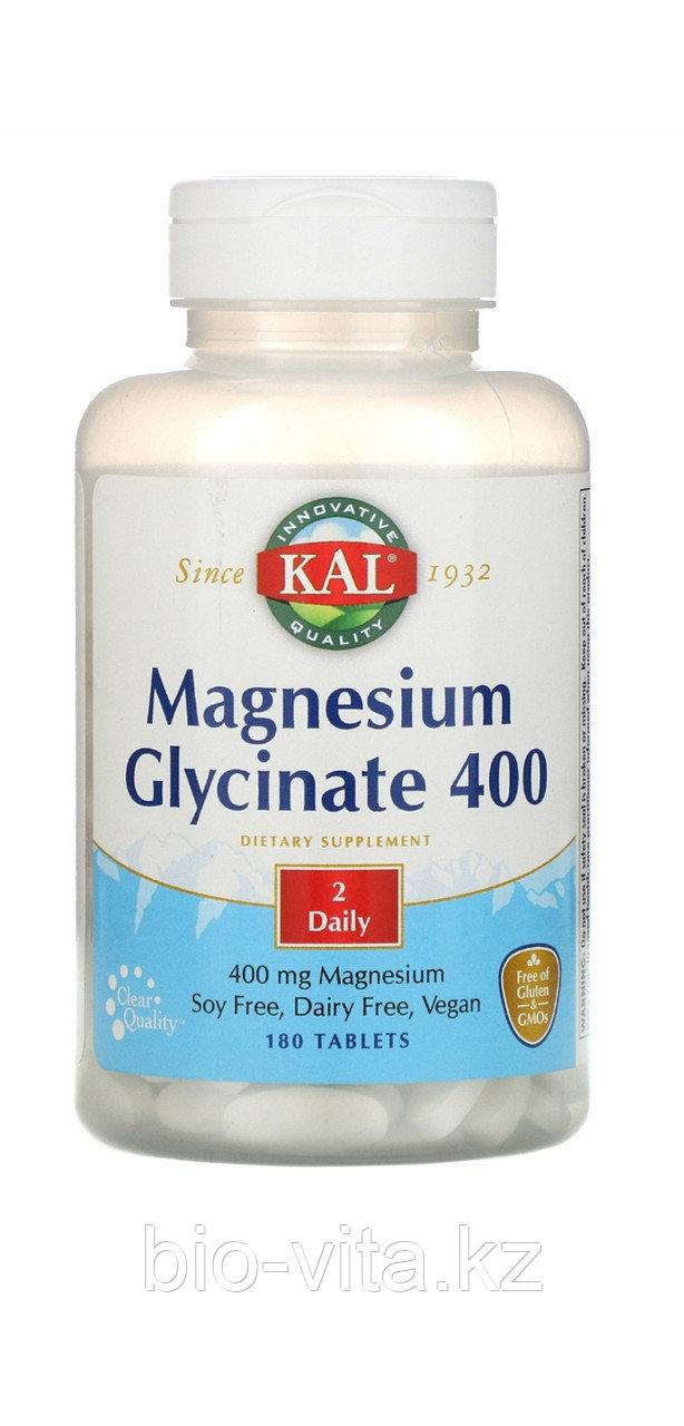 Глицинат магния. 400 мг. в 2 таблетках. 180 таблеток. KAL