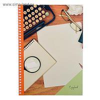 """Тетрадь А4, 60 листов в клетку, на гребне """"Рабочее настроение"""", обложка мелованный картон, блок офсет"""