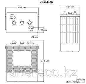 Тяговый аккумулятор US 305 HC XC (6В, 340Ач) Аналог Trojan J305HG-AC, фото 2