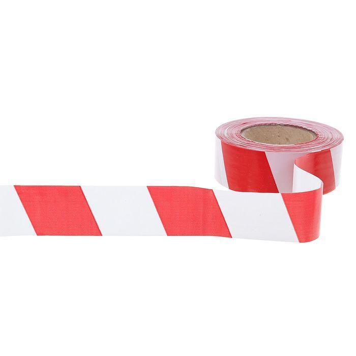 """ЛО-200/50 Лента оградительная """"Эконом"""" длина 200м, ширина 50 мм (Бело-красная)"""