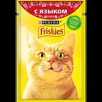 Влажный корм для кошек Purina Friskies с языком в подливе, пауч, 85 г