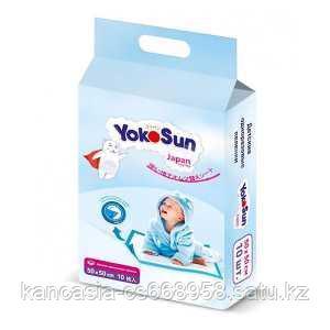 YokoSun Пеленки одноразовые с липкой лентой для фиксации, размер 50* 50 см.