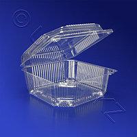 Kazakhstan Контейнер пластиковый 1250мл PET прозрачный с нераздельной крышкой 13,9х13,9х6,6см 300 шт/кор ПР-К-15 А ПЭТ