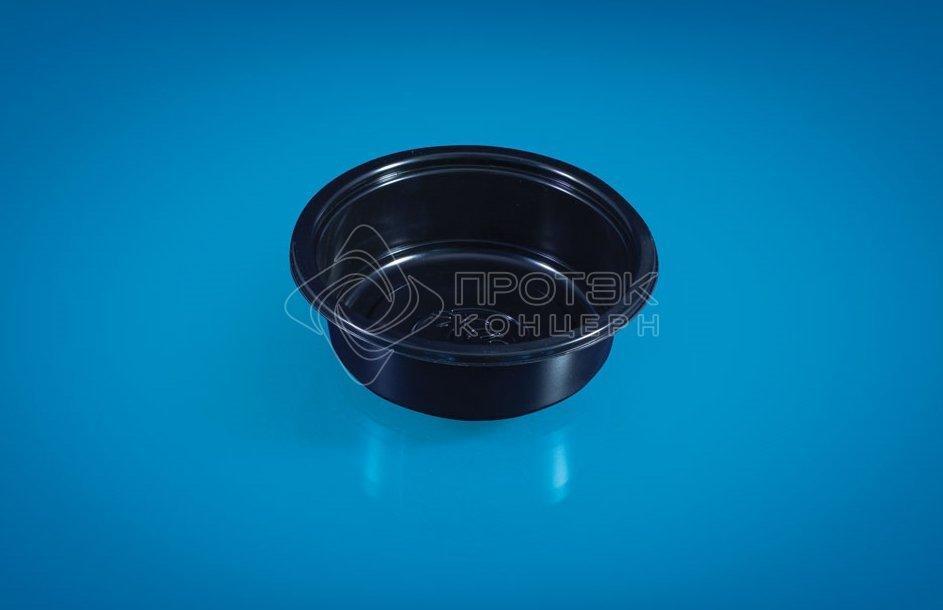 Контейнер 400мл, кругл., d 137мм, h 44мм, чёрн., под запайку, ПП, 600 шт