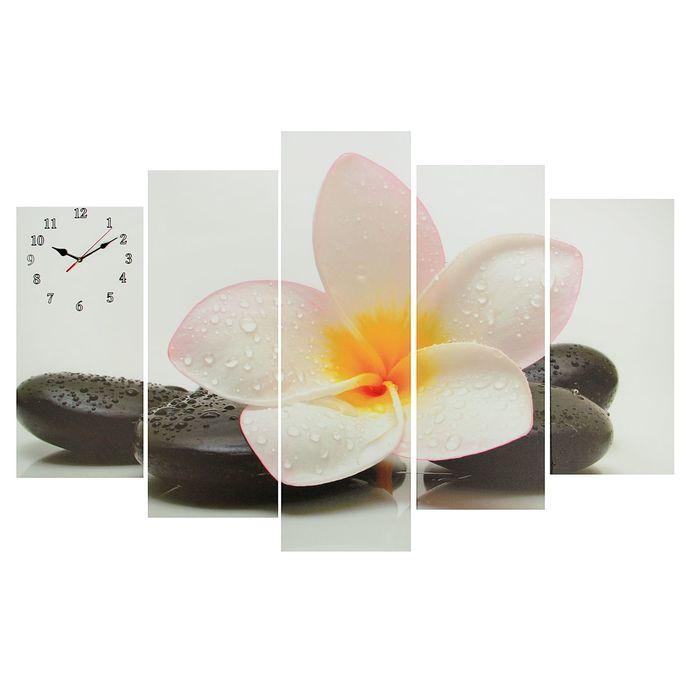 Часы настенные модульные «Цветок на камне», 80 × 140 см