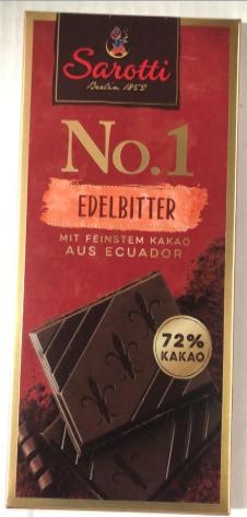 Шоколадная плитка Sarotti Edelbitter, Содержание какао 72%, 100 гр