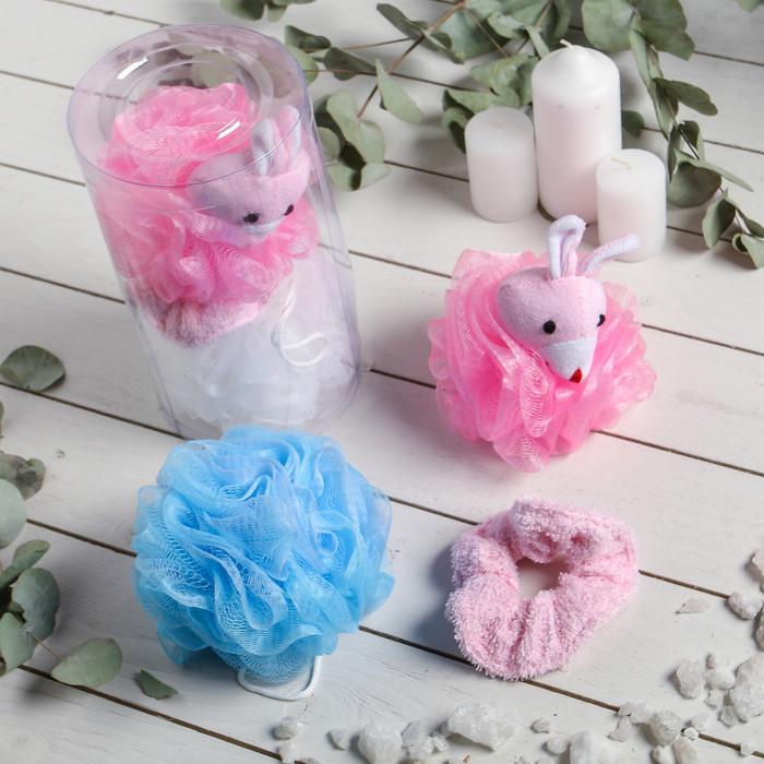"""Набор банный детский в тубе """"Зайчик"""", 3 предмета: 2 мочалки, резинка для волос"""