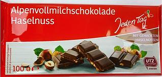 Шоколад молочный с дробленым орехом Jeden Tag 100 гр.