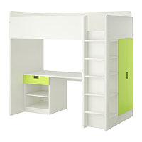 Кровать-чердак СТУВА 1ящик/2 дверцы белый/зеленый ИКЕА, IKEA