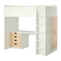 Кровать-чердак детская СТУВА 4 ящика/2 дверцы ИКЕА, IKEA , фото 1