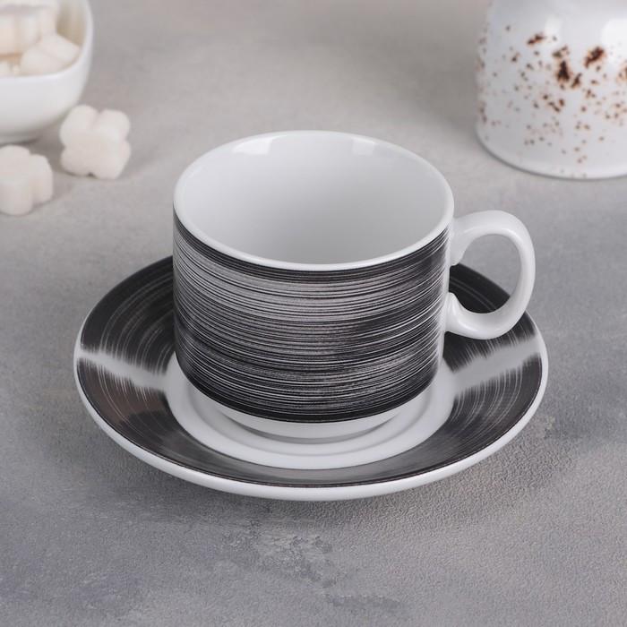 """Чайная пара 220 мл """"Brush (black)"""" ф.287"""