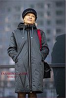 Женское демисезонное длинное пальто, болоневое, на синтепоне (цвет антрацит)