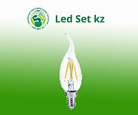 Лампа светодиодная LED-Свеча на ветру-PREMIUM 5,0Вт 220В Е14 3000К 450Лм прозрачная