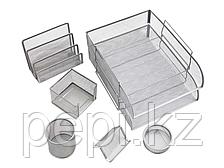 """Набор настольный Berlingo """"Steel&Style"""" 7 предмета, металлический, сетчатый, серебристый"""