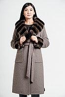 Пальто зимнее женское теплое с натуральным мехом