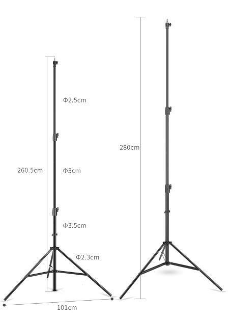 """Стойка 260 см для студийного света до 10 кг с алюминиевой головкой 1/4 """" - 3/8 """""""