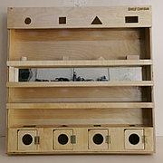Модуль сенсорный с геометрическими телами и зеркалом, панель Монтессори развивающая