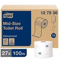 Туалетная бумага для диспенсера для диспенсера Tork Mid-size в миди рулонах (T6), 100 метров (комплект из 27 шт.)
