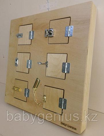 Настенный модyль с шестью замочками и задвижками, панель Монтессори развивающая, фото 2