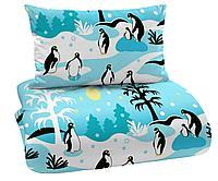 Подушка пингвины, голубой