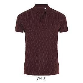 Рубашка поло мужская Brandy, бордовая с белым