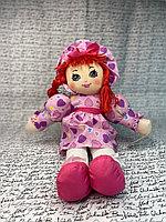 Куклы - 30см (Бежевая Кукла в платье в сердечках,с шляпокй в тон и  волосами красного цвета, розовыми сапожками, мягкая)